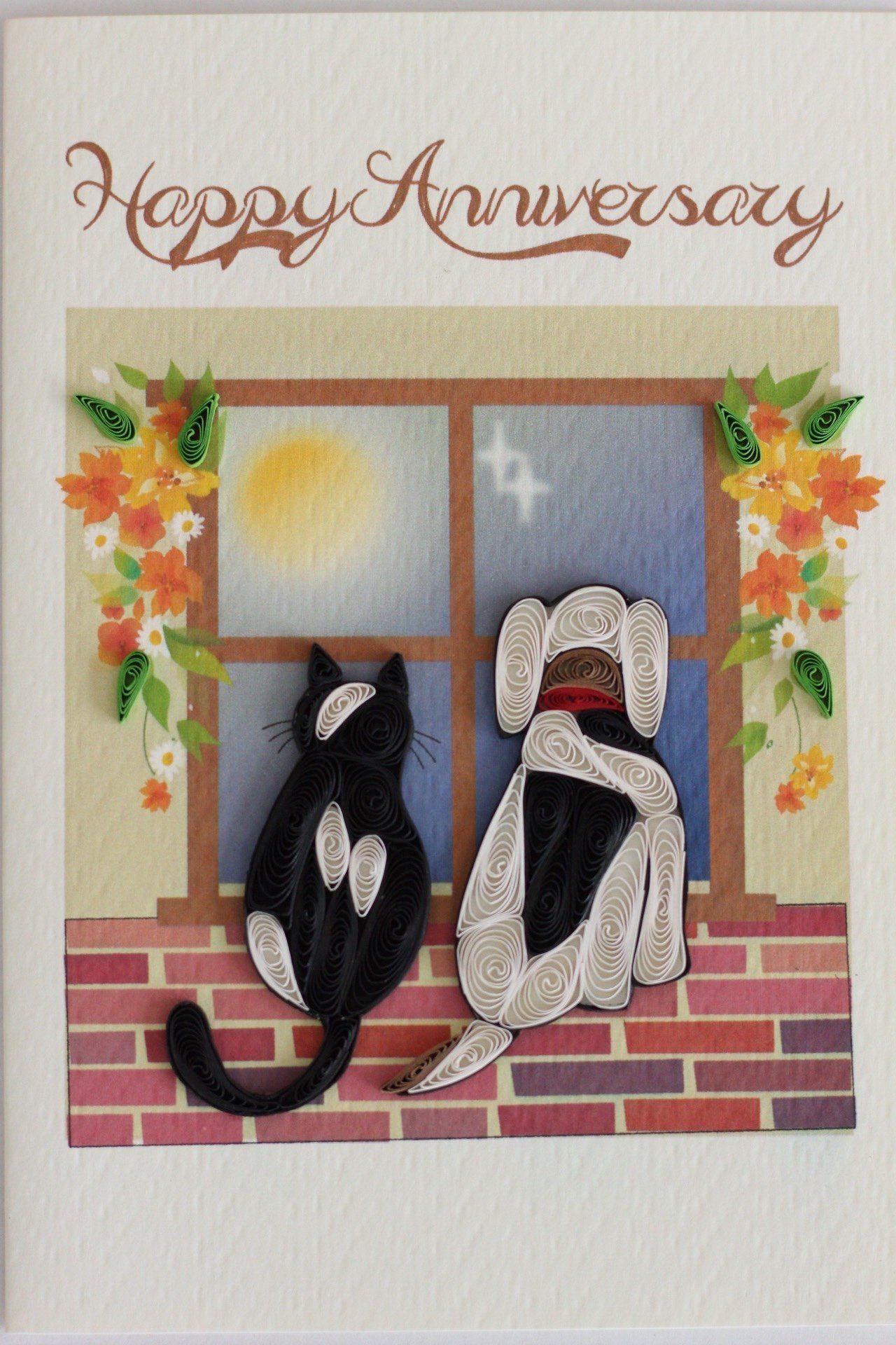 Happy Anniversary Cat Dog Happy Anniversary Anniversary Cards Anniversary Wishes For Friends