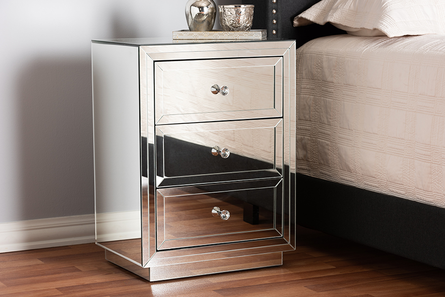 Home In 2020 With Images 3 Drawer Nightstand Mirrored