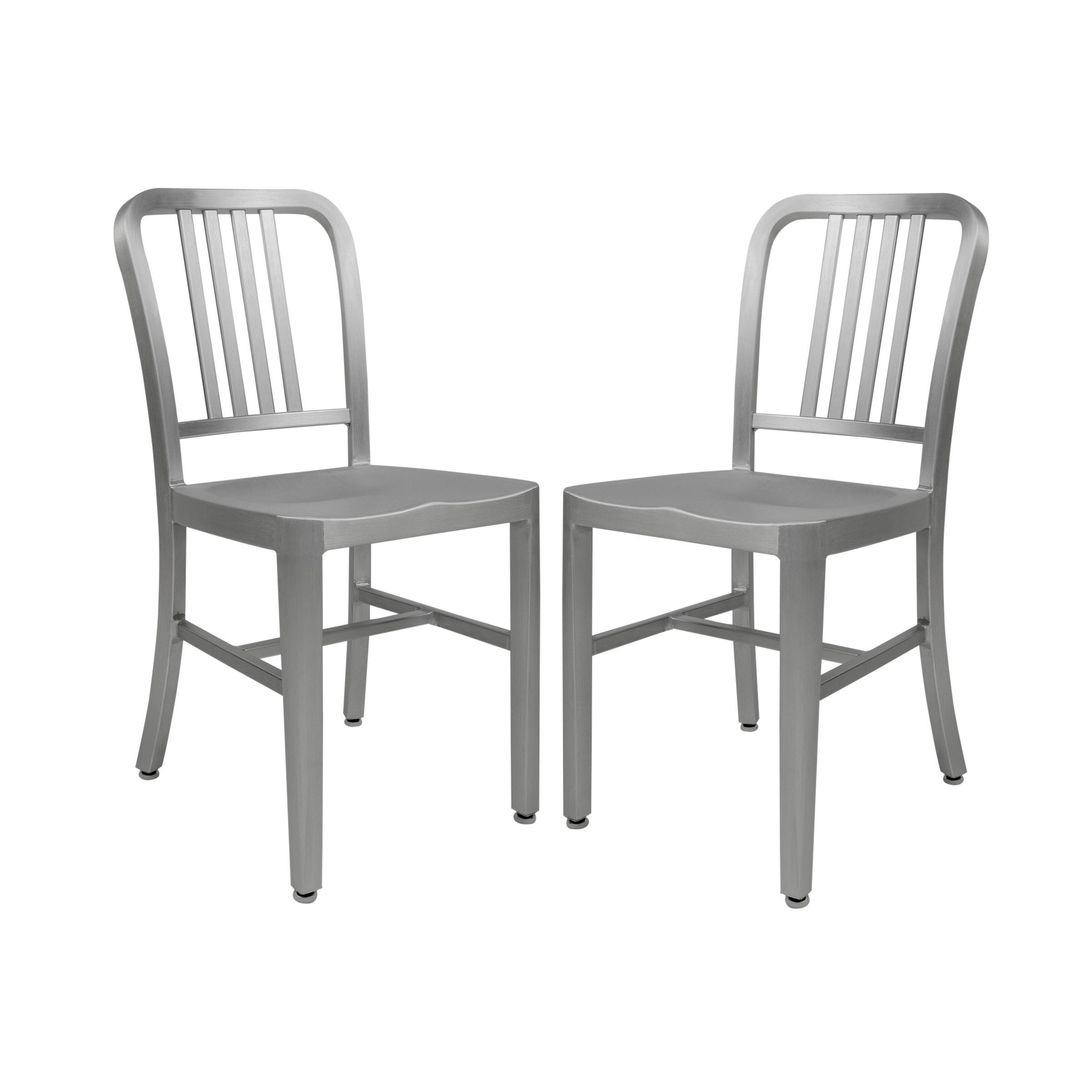 Leisuremod Alton Modern Aluminum Dining Side Chair Set Of 2