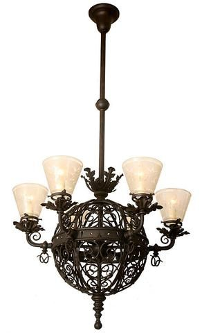 Incredible circa 1899 r williamson co antique converted gasolier incredible circa 1890 antique six light converted gasolier with hand wrought scroll work and original shades turn of the century lighting aloadofball Gallery