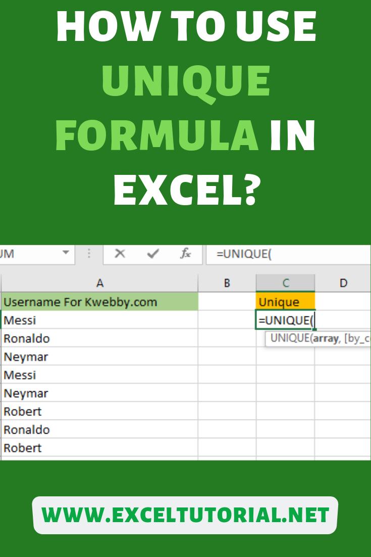 How to use UNIQUE Formula in Excel   Excel tutorials, Excel ...