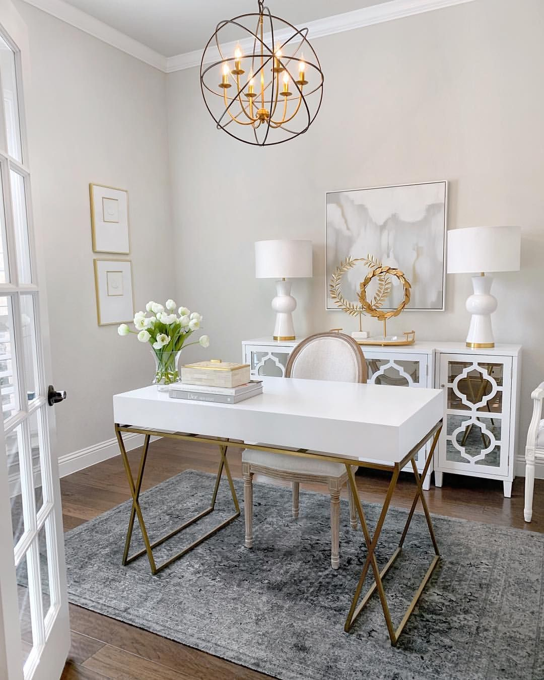 Glam White And Gold Home Office By Thedecordiet Instagram Study White Desk With Gold Kegs Mirrored Cab Home Office Design Home Office Decor Modern Home Office