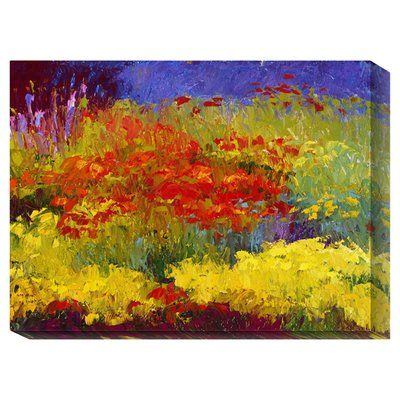 """Global Gallery 'Provincetown Poppies' by Gail Wells Painting Print on Wrapped Canvas Size: 18"""" H x 24"""" W"""