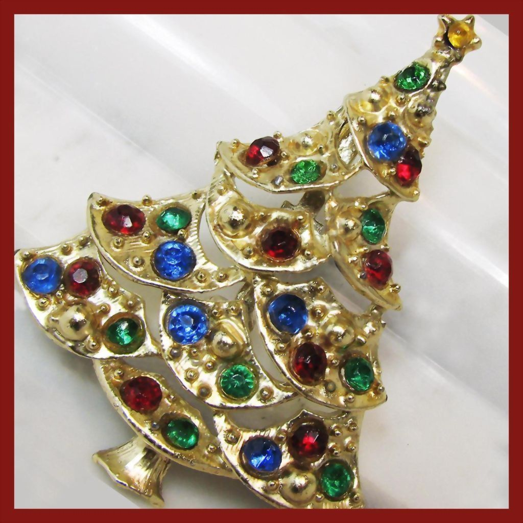 Vintage Rhinestone Christmas Tree Brooch, Red, Green, Cobalt, Gold