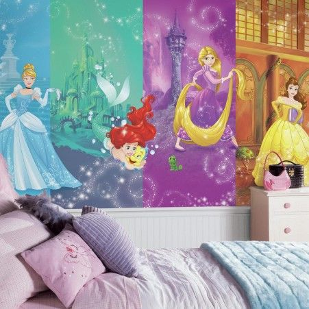 Disney Princess Wall Decor disney princess scenes wallpaper mural 10.5' x 6' | disney