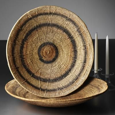 African Baskets | Woven from roots of makenge bushes by women from the tiny Mbunda tribe of Zambia.