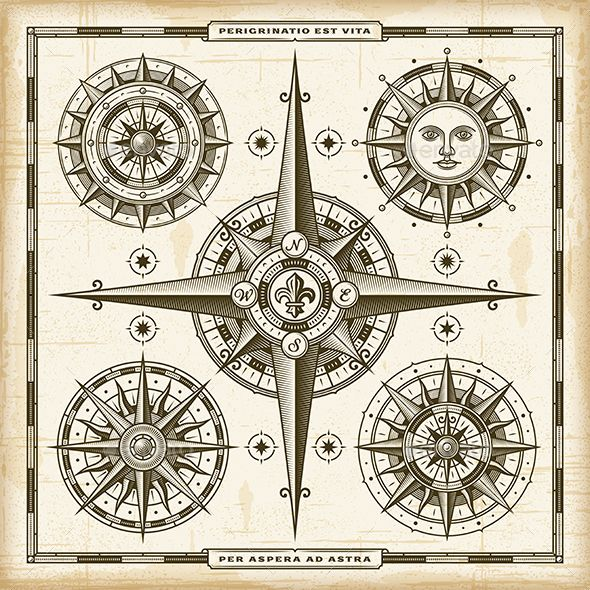 A set vintage nautical compass roses in retro woodcut style. EPS10 vector illustration. Use gradient mesh and transparency. Texts