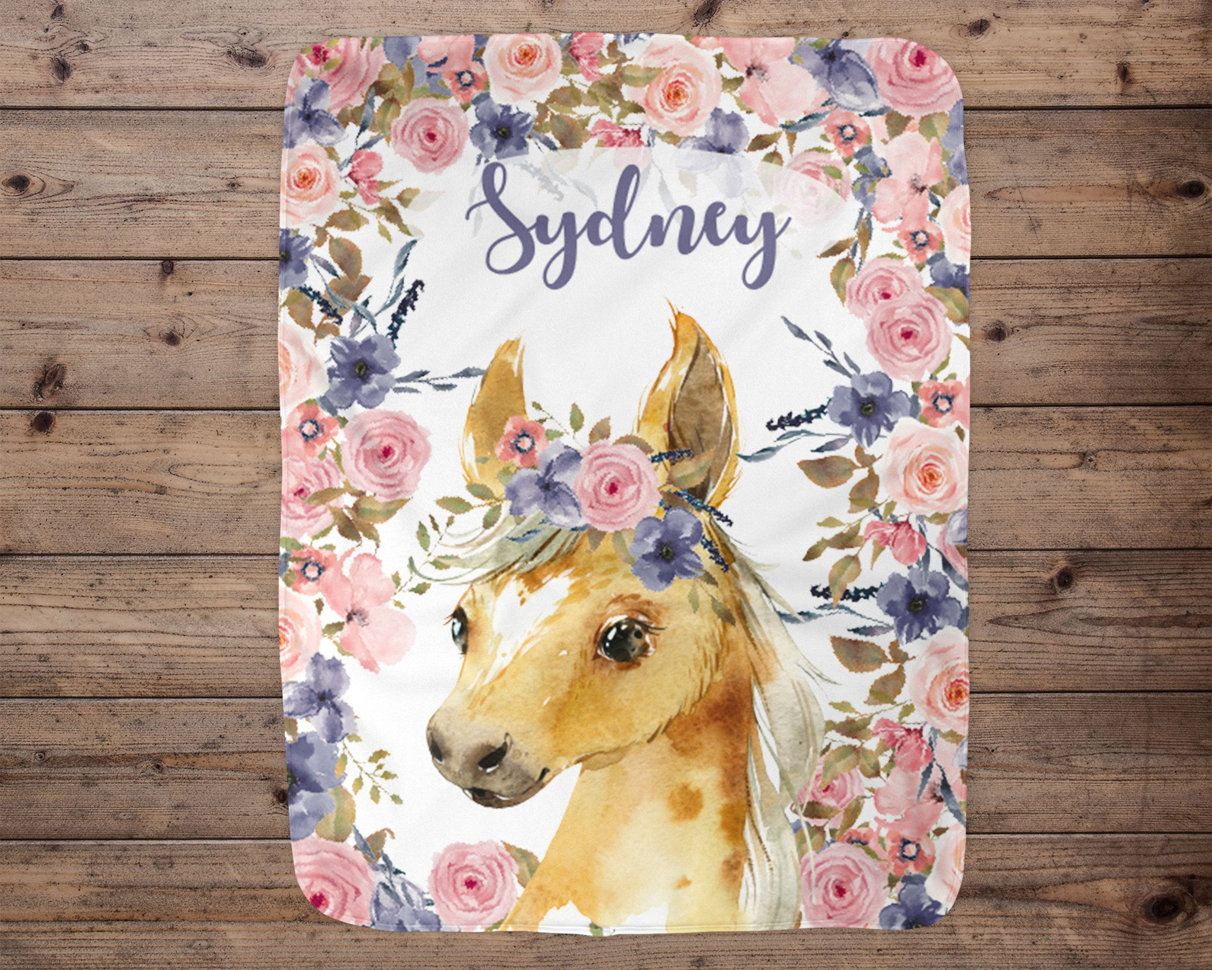 Horse personalized baby girl blanket baby blanket name