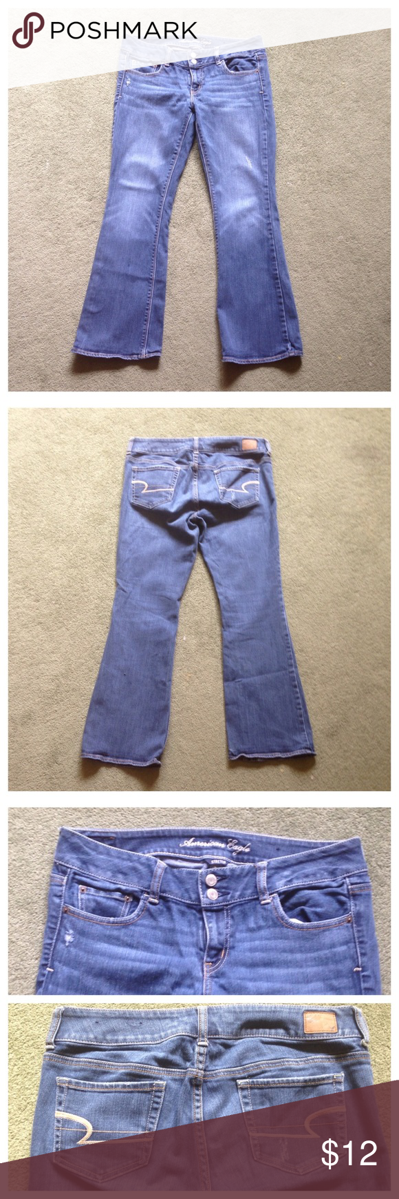 """American Eagle Size 10 Artist Boot Blue Jeans Excellent condition; Across waist - 17"""", Front rise - 8"""", Inseam - 29"""", Leg opening - 9.5"""" American Eagle Outfitters Jeans Boot Cut"""