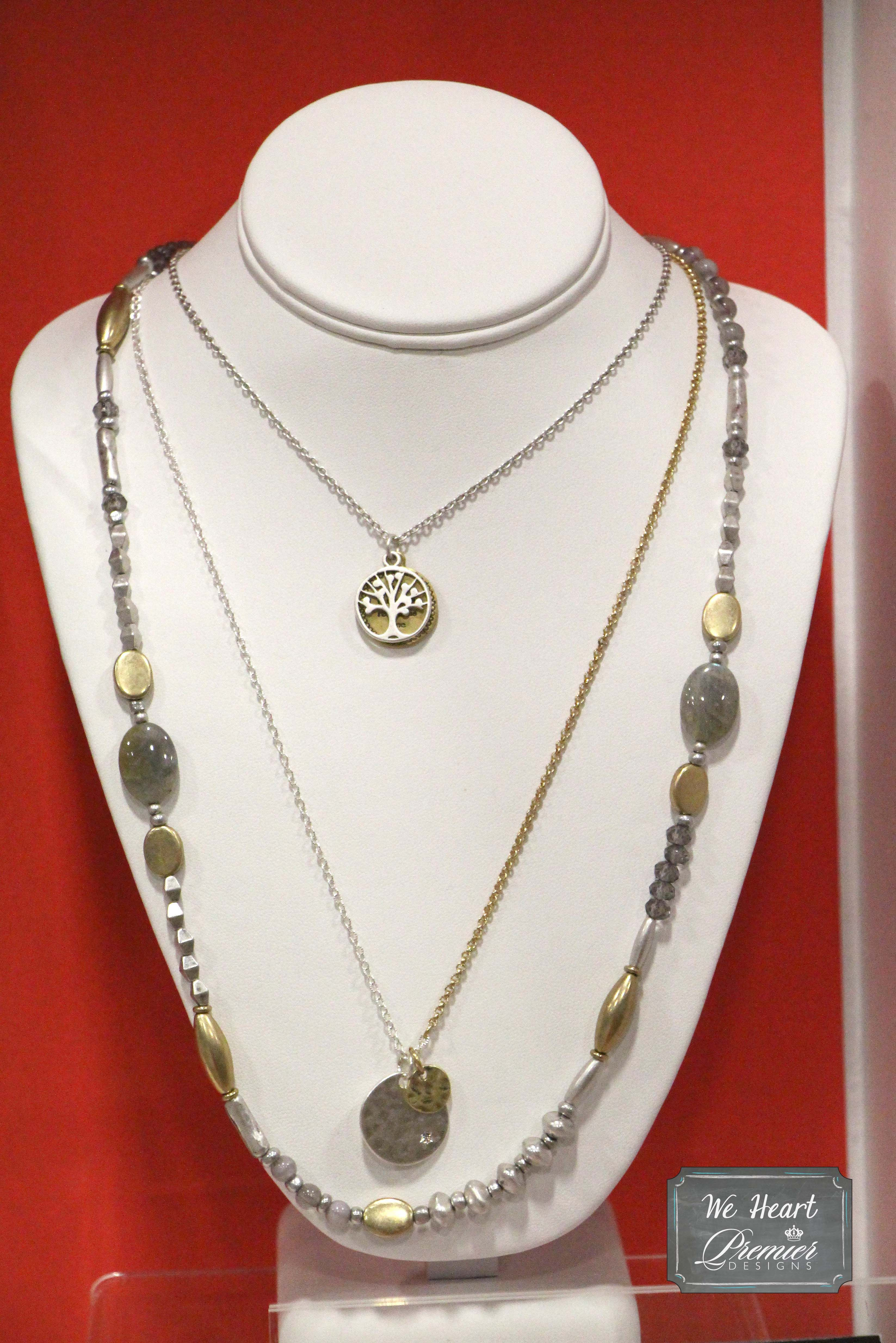 Premier Designs Jewelry ROOTED NECKLACE Antiqued matte gold /& silver plated