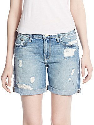 FRAME DENIM Distressed Denim Bermuda Shorts - Light Blue - Size 2
