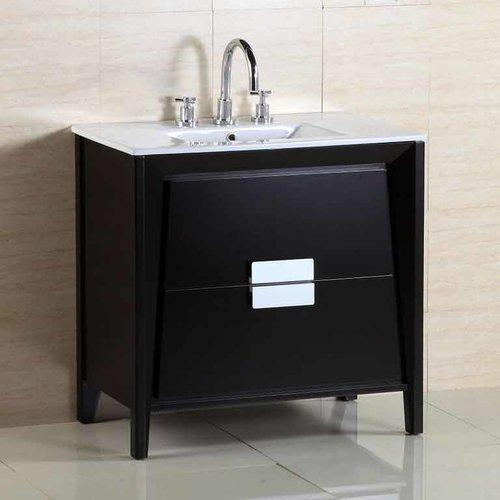 Bellaterra 36 Single Sink Bathroom Vanity Dark Espresso White