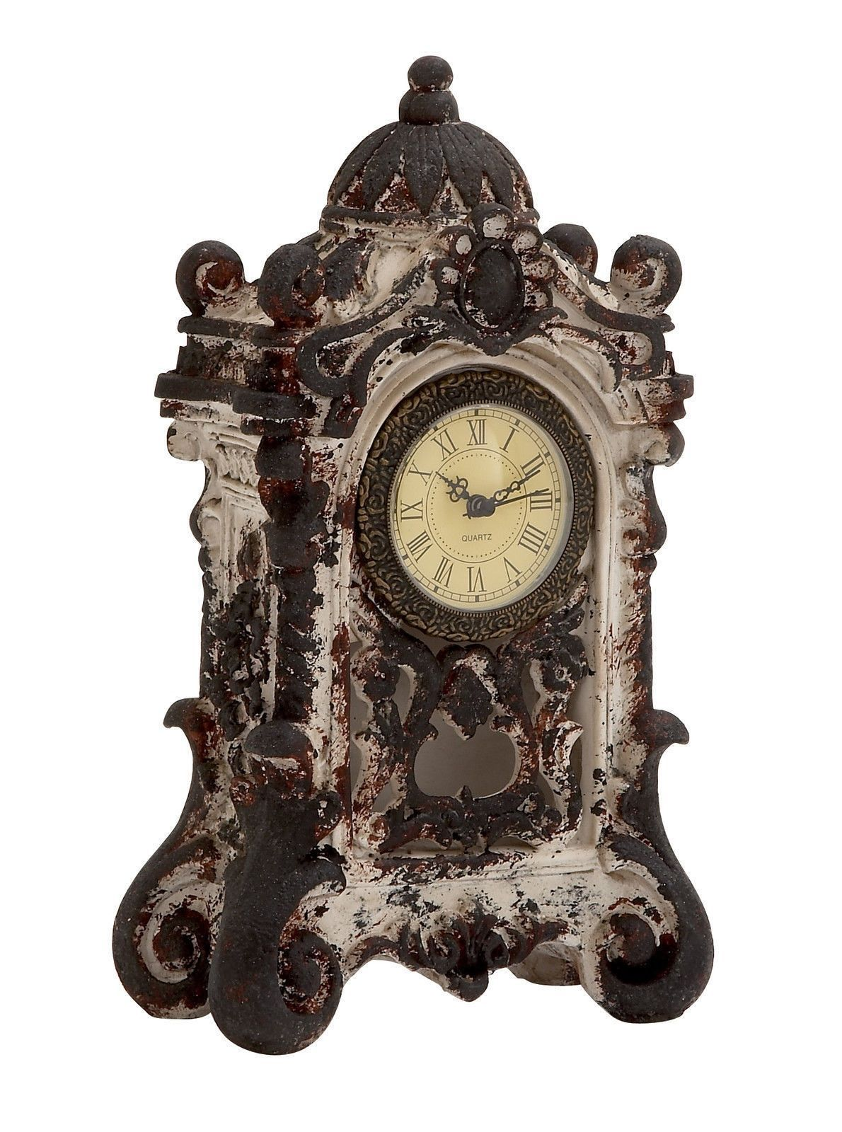 Gothic Brown Antiqued Baroque Style Ornate Ceramic Table Mantel Clock Home  Decor