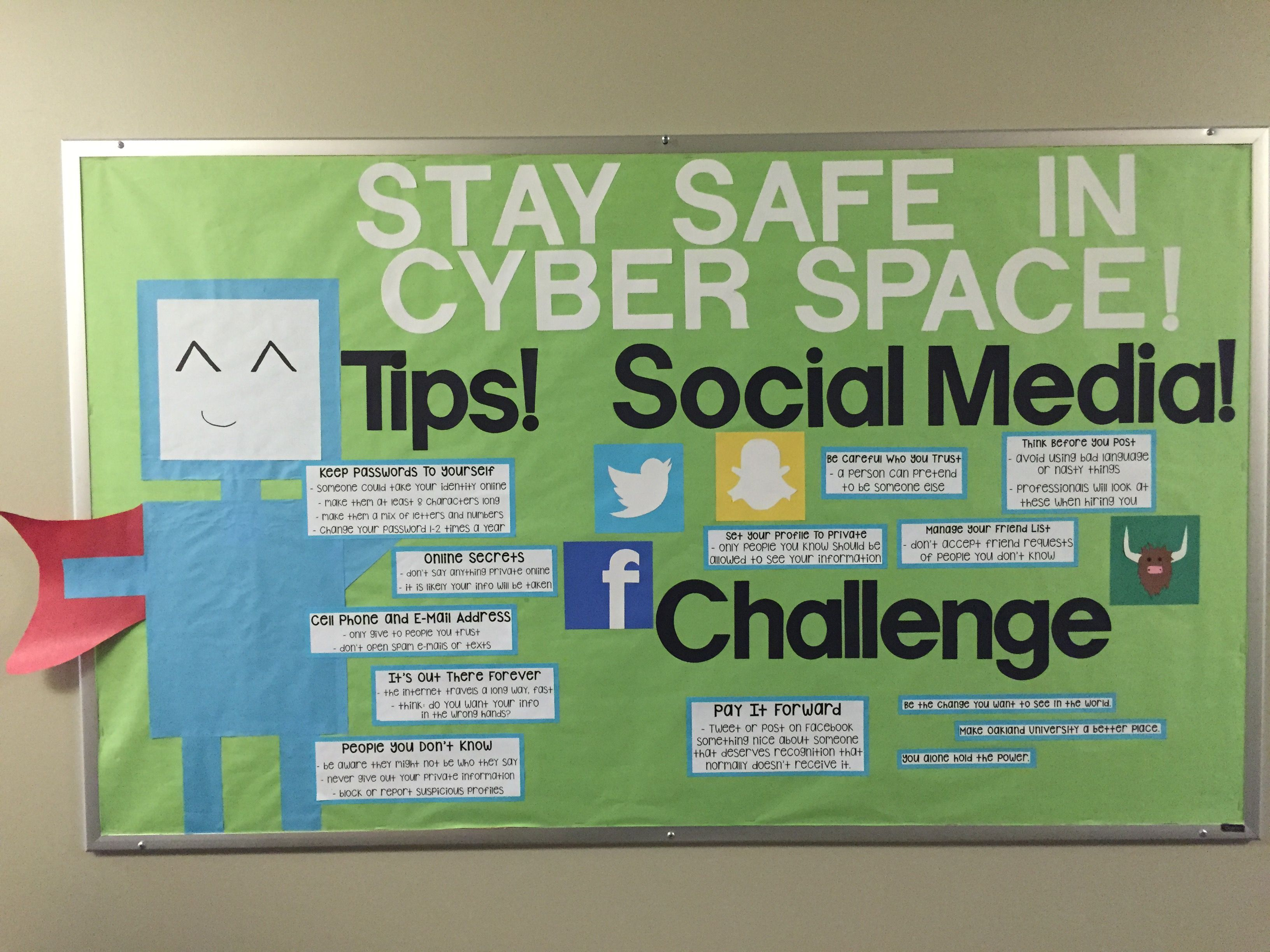 Cyber Safety bulletin board with a super hero theme. The