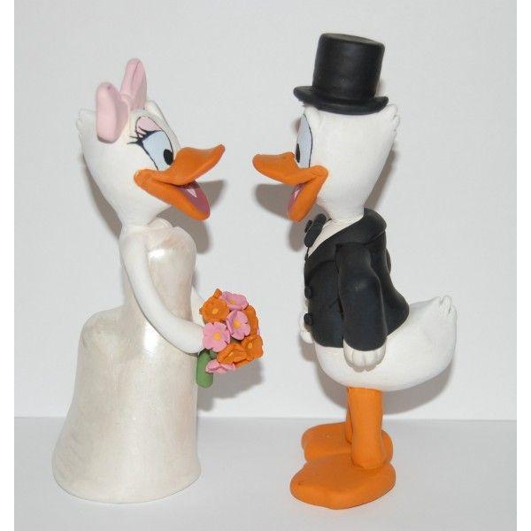 handmade donald and daisy duck disney wedding cake topper wct121 cakepinscom