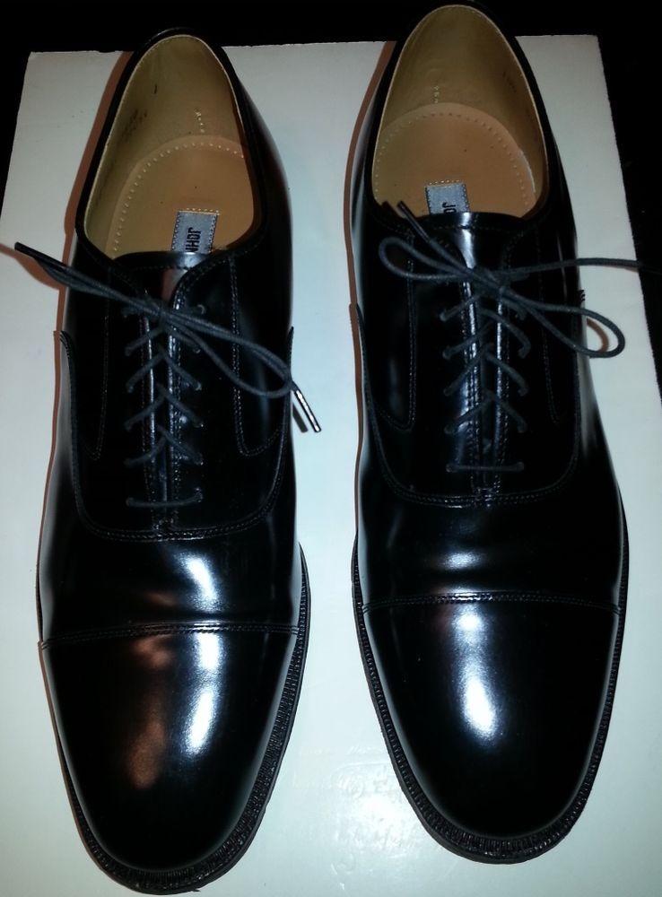 Johnston Murphy Bradford Black Leather Cap Toe Oxford Dress Shoe