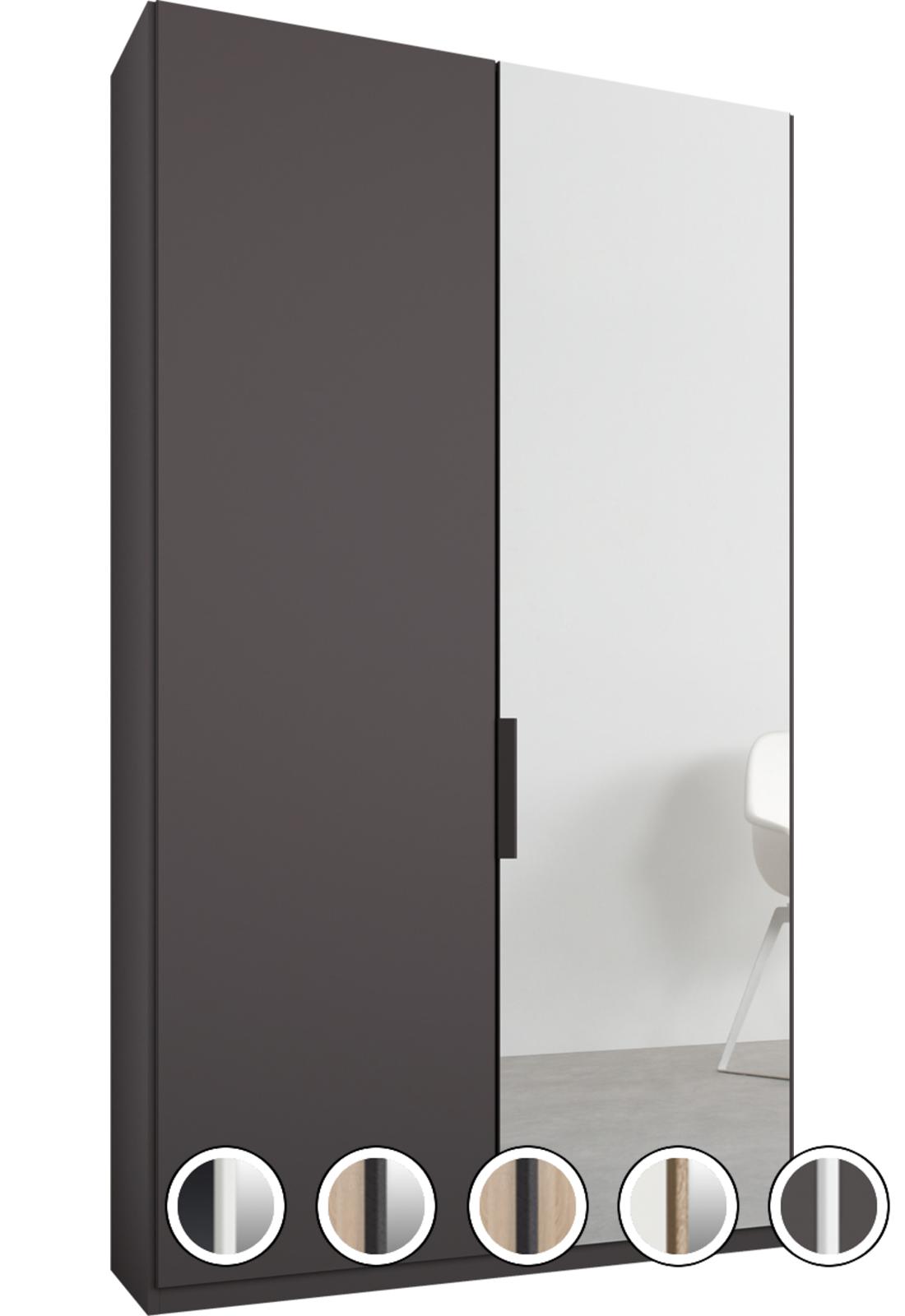 Caren 2 Door 100cm Hinged Wardrobe Graphite Grey Frame Matte Graphite Grey Mirror Doors Standard Interior Mirror Door Mirror Hanging Rail