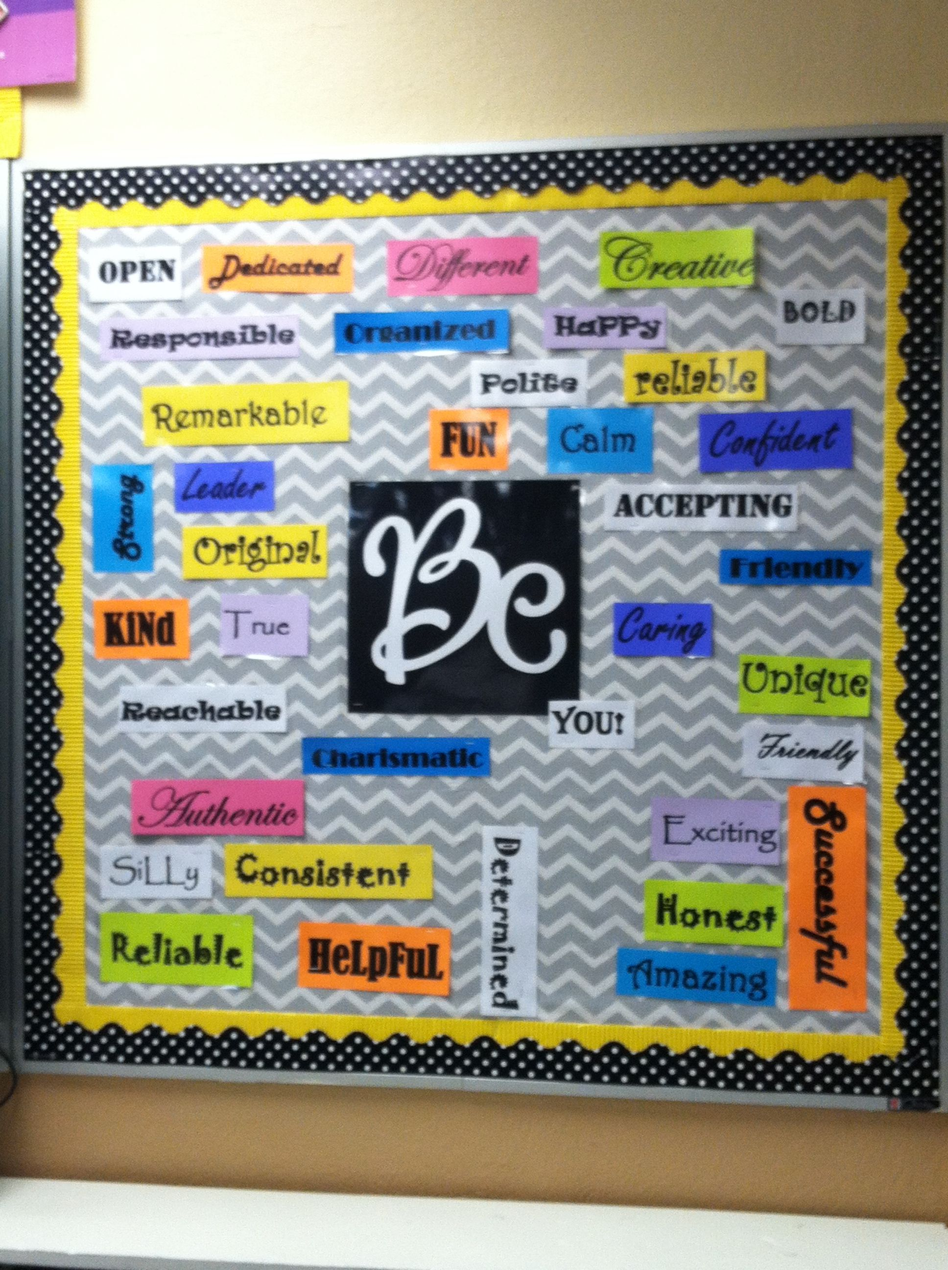 Middle school Bulletin board Cool first day idea Have students think ...