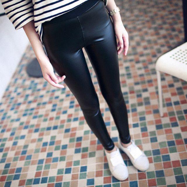 2016 Spring Thin Matte PU Leather Leggings Push Up Knitted Waist Elastic Soft Leather Pants Black Leggings Skinny Trousers Women