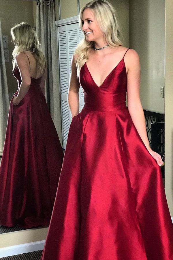 37a310cba9 Burgundy A Line Floor Length Deep V Neck Sleeveless Mid Back Prom Dress