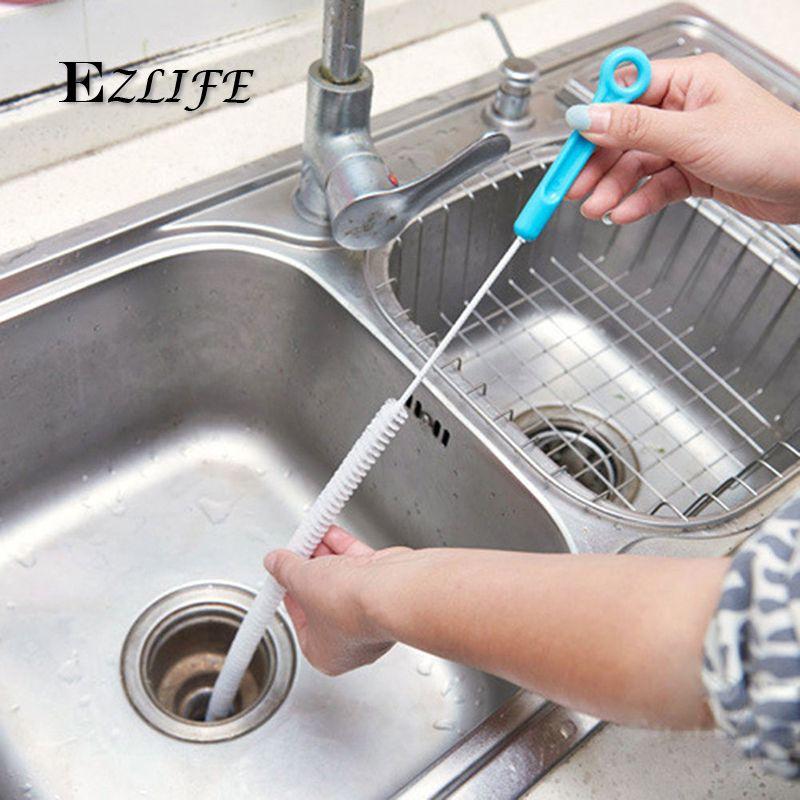 71cm Flexible Cleaning Brush Sink Overflow Drain Unblocker Cleaner Kitchen Tools Steel Bathroom Shower Clean Clean Bathroom Shower Shower Cleaner Drain Cleaner