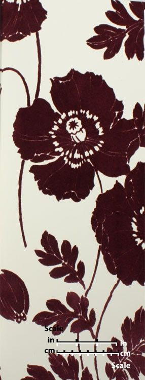 Poppycock Velvet Flocked Wallpaper in Plum and White from the Plush Collection by Burke Decor