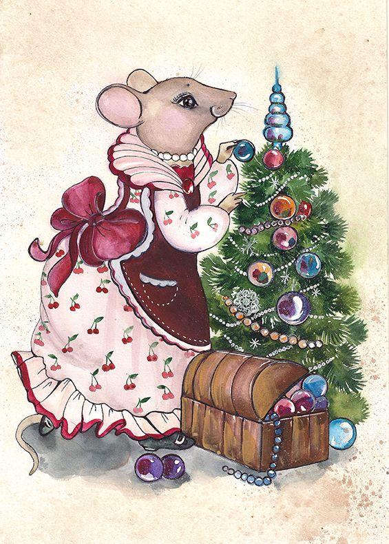 Новый год мыши открытки, днем