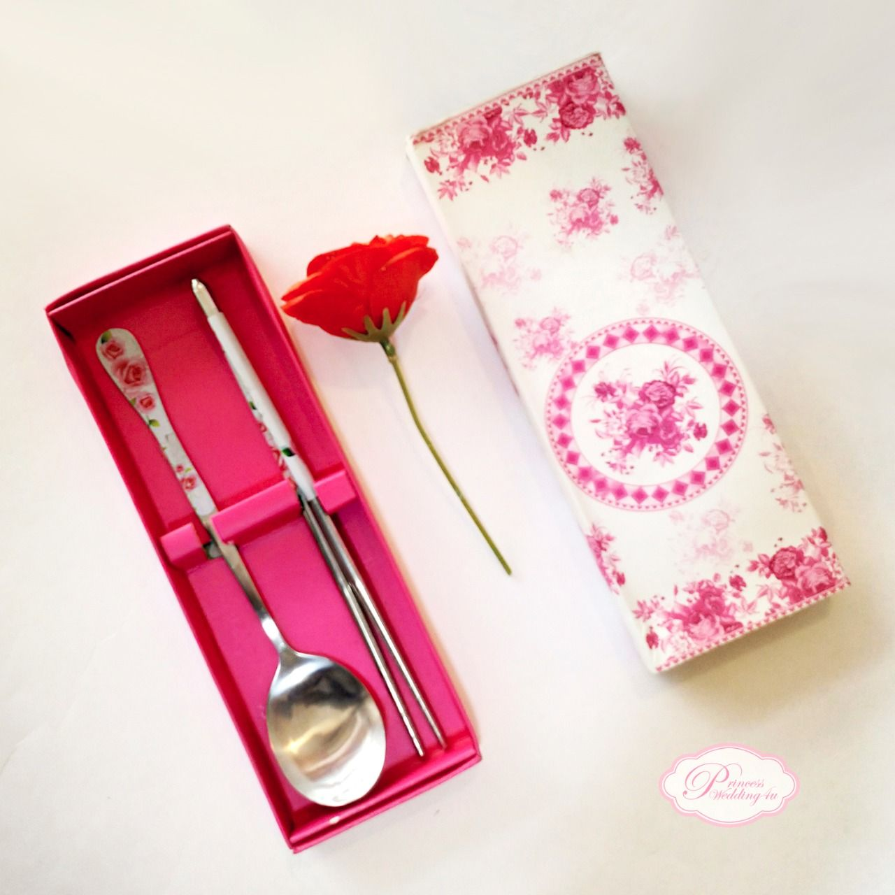 Pink Flower Spoon and Chopstick Cutlery Set\