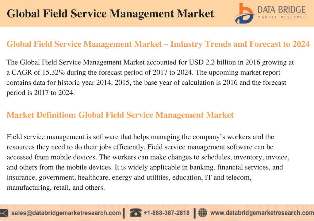 The Global Field Service Management Market accounted for USD