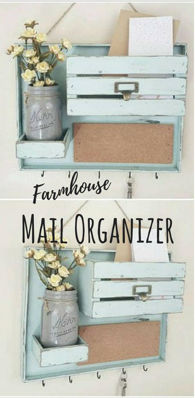 Cute Farmhouse Style Mail Organizer Command Center Farmhousestyle Ad Mail Organizer Commandcenter Wood R