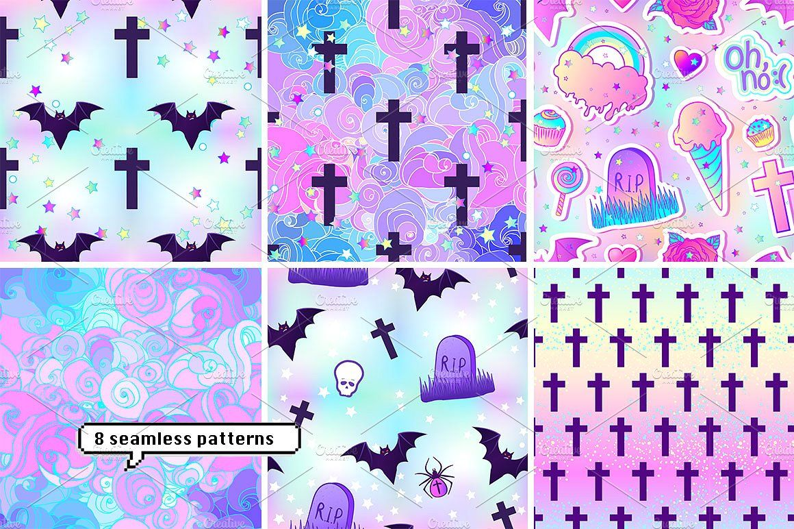 PASTEL GOTH, patches & patterns   Goth wallpaper, Pastel ...