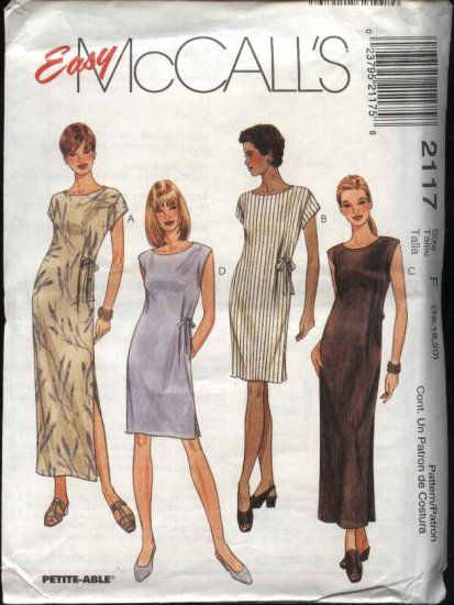 McCall's+Sewing+Pattern+2117+Misses+Size+4-6-8+Easy+Summer+Long+Short+Straight+Dress