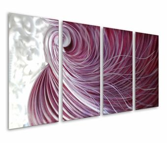 Purple Poignancy Abstract Hand-Painted Metal Wall Hanging