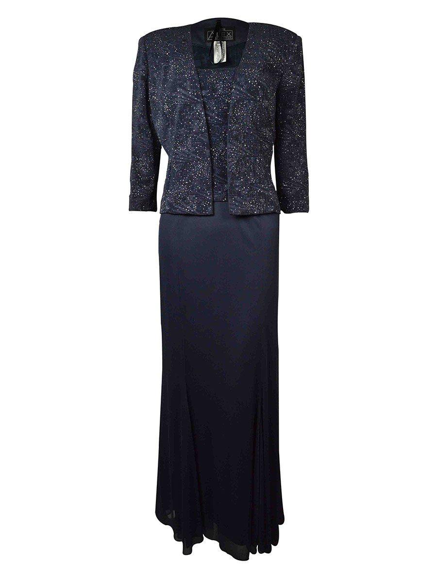 Alex evenings womens twopiece dress set smoke p size type