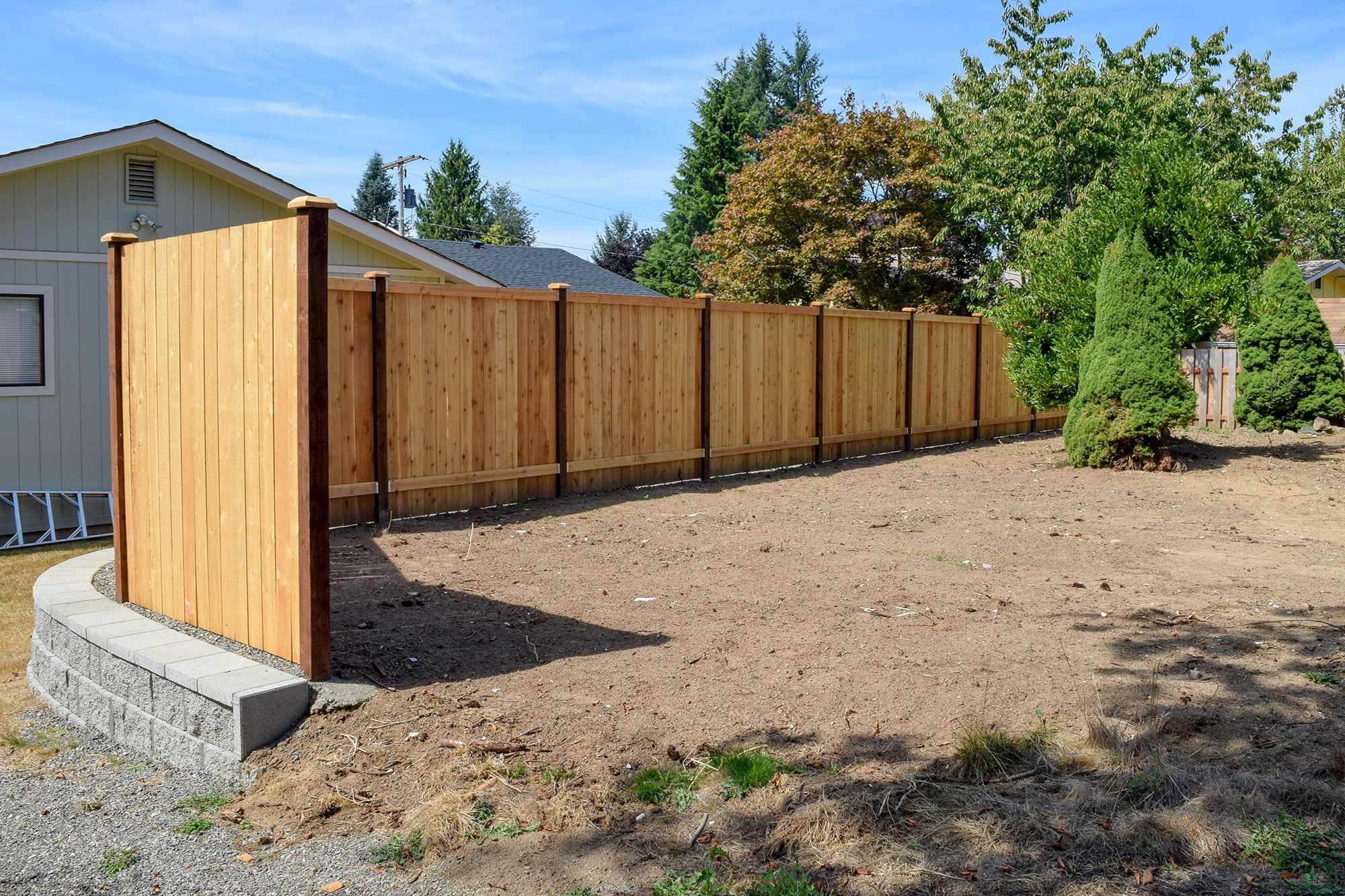 Panhandle Property Divider Fence Retaining Wall In Tumwater Wood Fence Retaining Wall Retaining Wall Fence