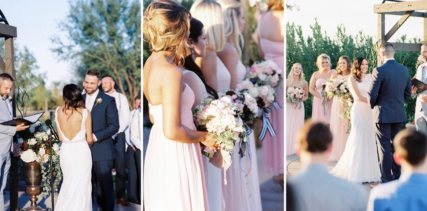 Such a pretty blush and blue wedding day! #arizonawedding #realwedding #wedding #ceremony #weddinginspiration  #blue #blush Cake: @pixycakes, Gown: Schaffer's Bridal, Photography: Rachel Solomon, Ceremony & Reception Site: Trilogy at Vistancia, Wedding Coordination, Floral: Thee Wedding & Event Warehouse
