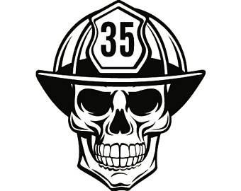 SKULL FIREFIGHTER w AXE Vinyl Decal Sticker Fire fighter emt Fireman Hazmat