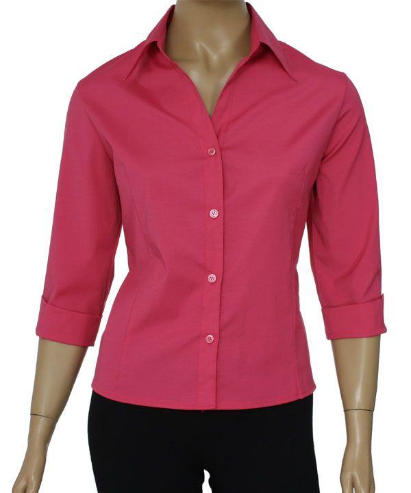 7329930f9a576 Camisa Social Feminina Lisa Manga 3 4    Netroupas Moda Executiva ...