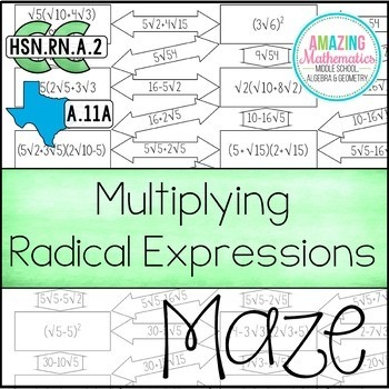 Operations With Radical Expressions Maze Multiplying Worksheet In 2021 Radical Expressions Simplifying Radical Expressions Inequalities Activities Dividing radicals worksheet answer key