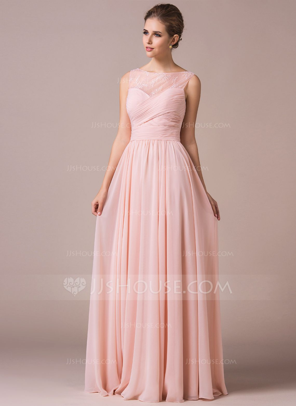 Chiffon Lace A-Line Floor-length Bridesmaid Dress | Pinterest | Lace ...