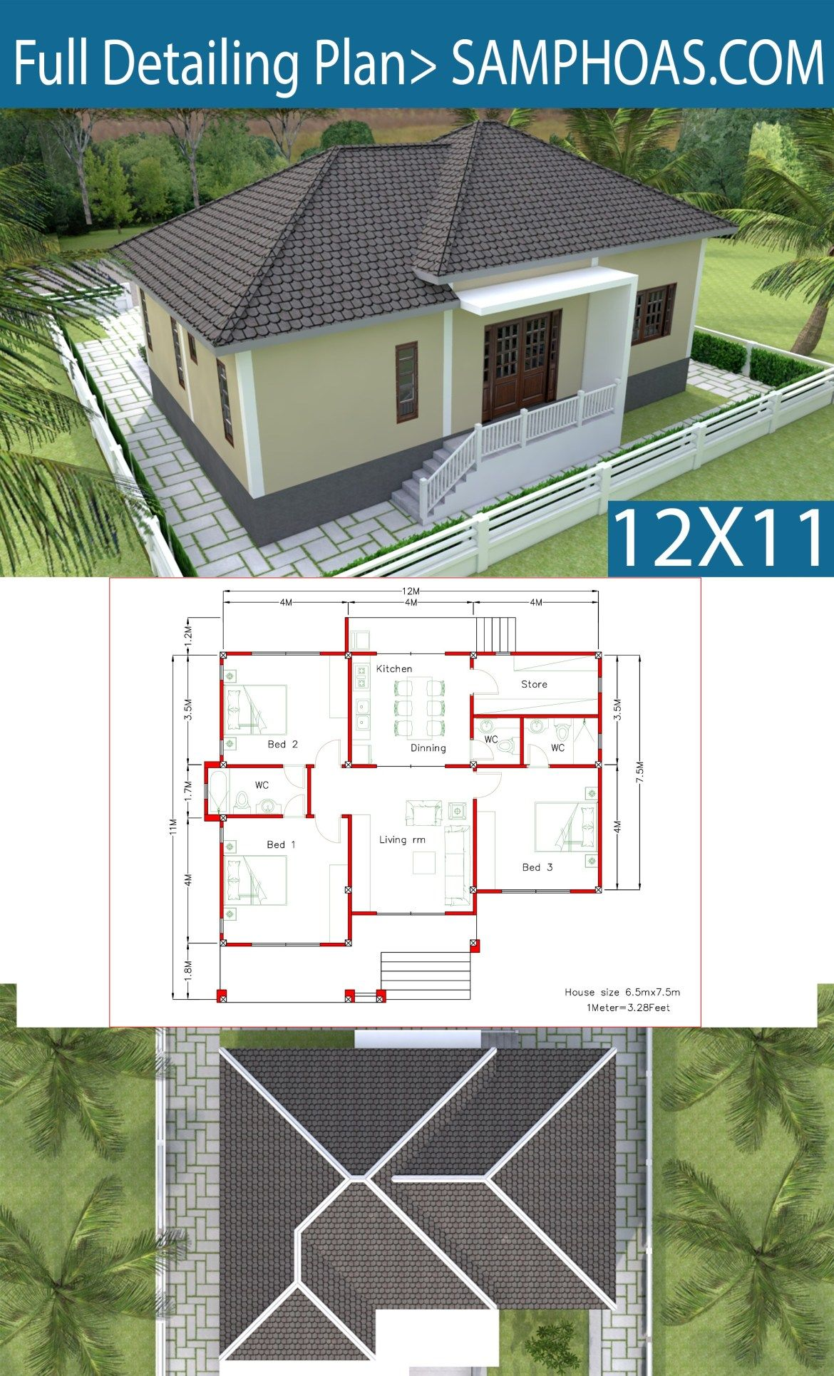 Interior Design Plan 12x11m With Full Plan 3beds Samphoas Plansearch Interior Design Plan Modern Bungalow House Design Simple House Design