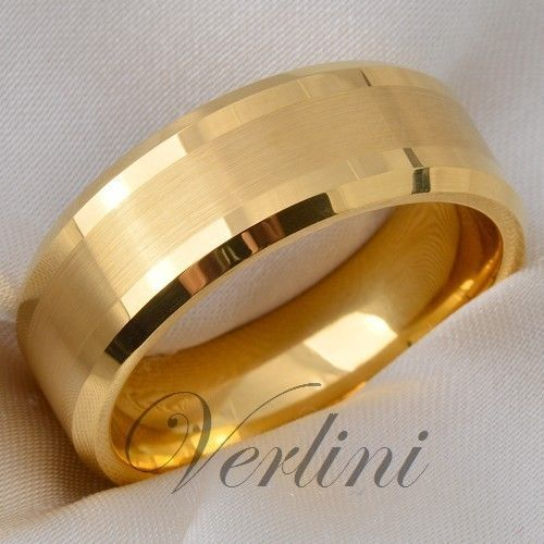 details about tungsten mens ring 14k gold infinity wedding band bridal jewelry size 6 13 - Mens Gold Wedding Rings