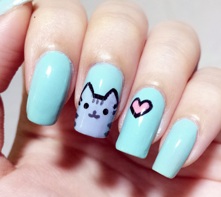 20 Cute And Easy Cat Nail Art Design Ideas You Must Try Nailcareideas Animal Nail Art Animal Nails Cat Nail Art