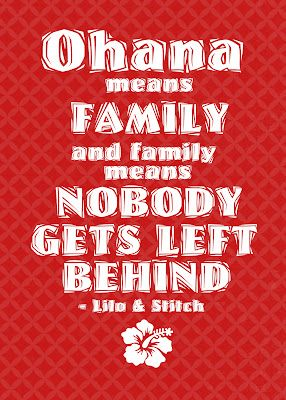"""Ohana means family..."" Lilo and Stitch themed printable FREE"