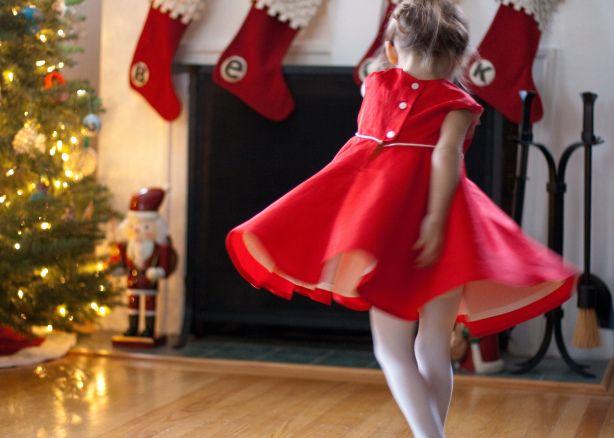 twirly red christmas dress via skirt as top.