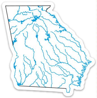 Georgia State Waterways Sticker 3 47 X 3 5 Hydro High Georgia Map Line Sticker Georgia