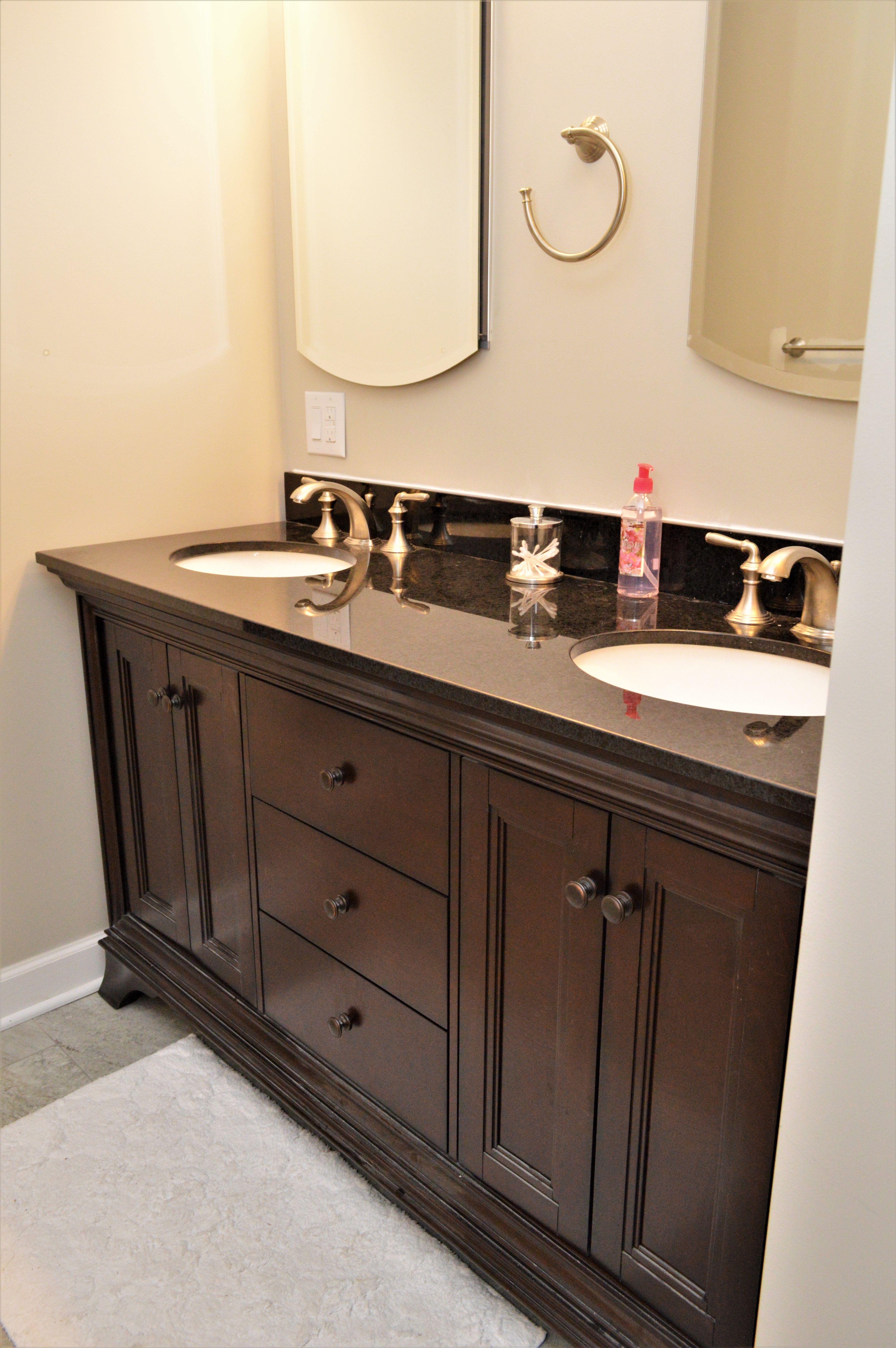 Bailey S Cabinets Floor Sale Allen Roth Eastcott Collection Double Bowl Maple Auburn Finish Diamond Black Granite To Flooring Sale Vanity Granite Tops