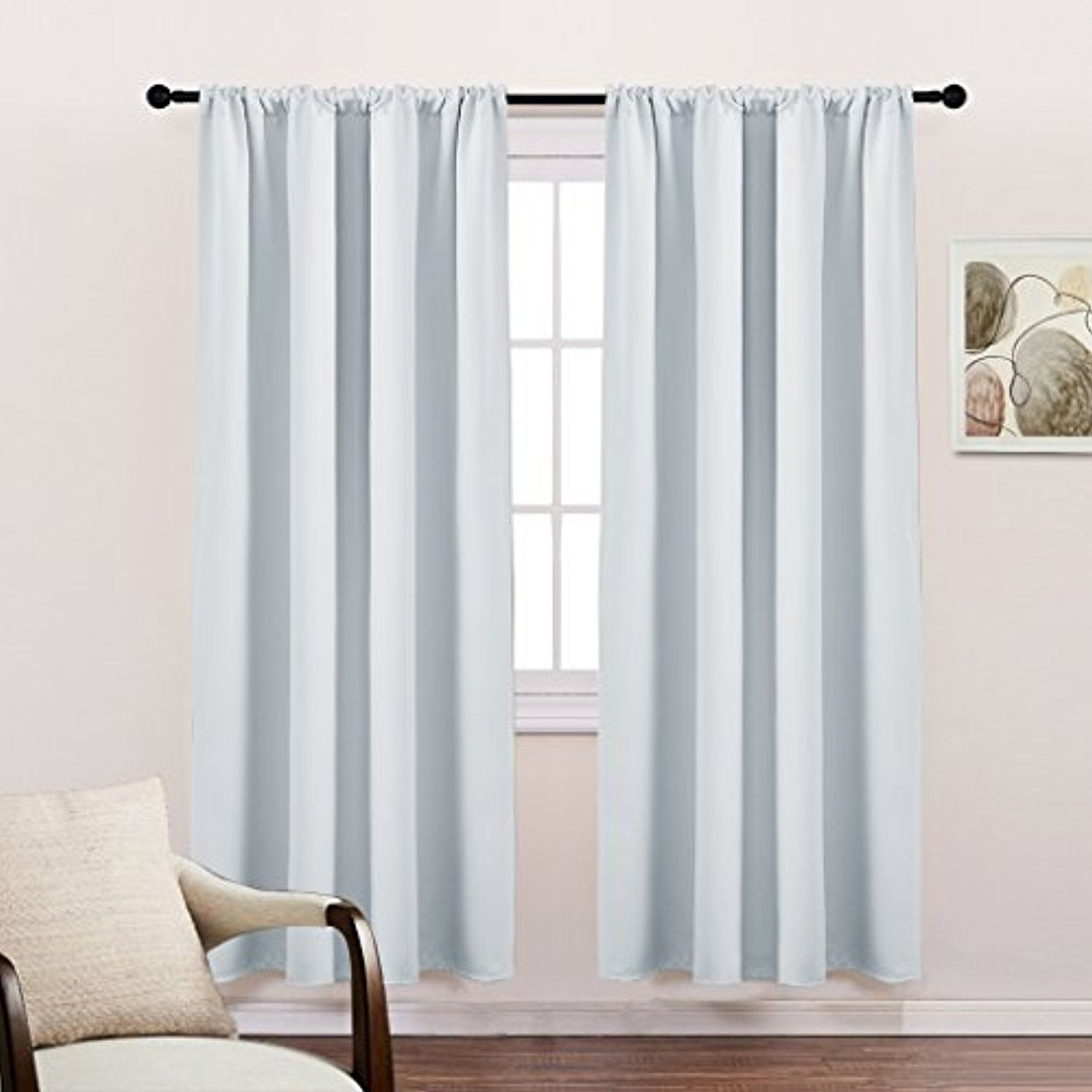 Bedroom Home Decor White Curtains - Rod Pocket Top Solid Soft ...