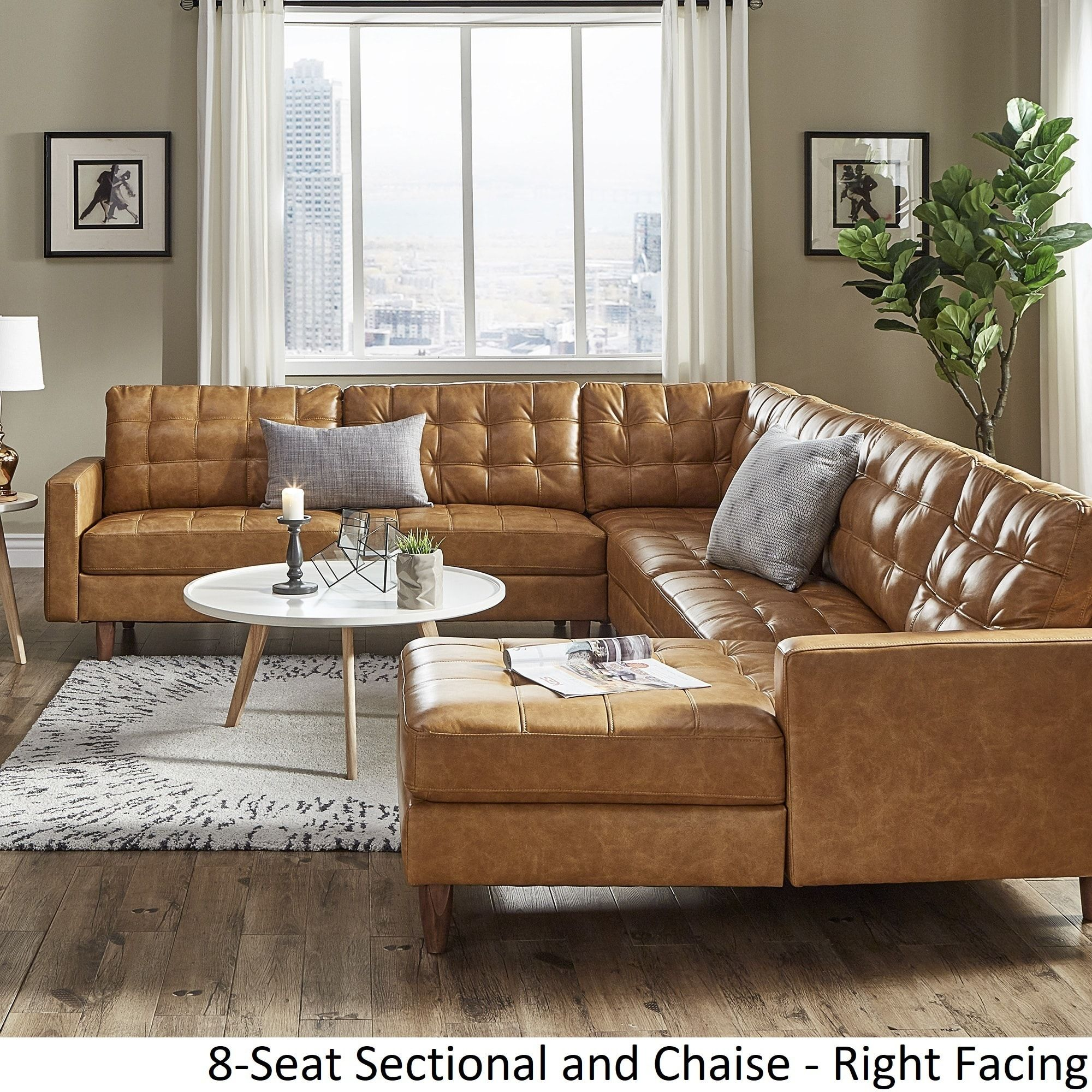 Odin Caramel Leather Gel L Shape Sectional With Chaise By Inspire