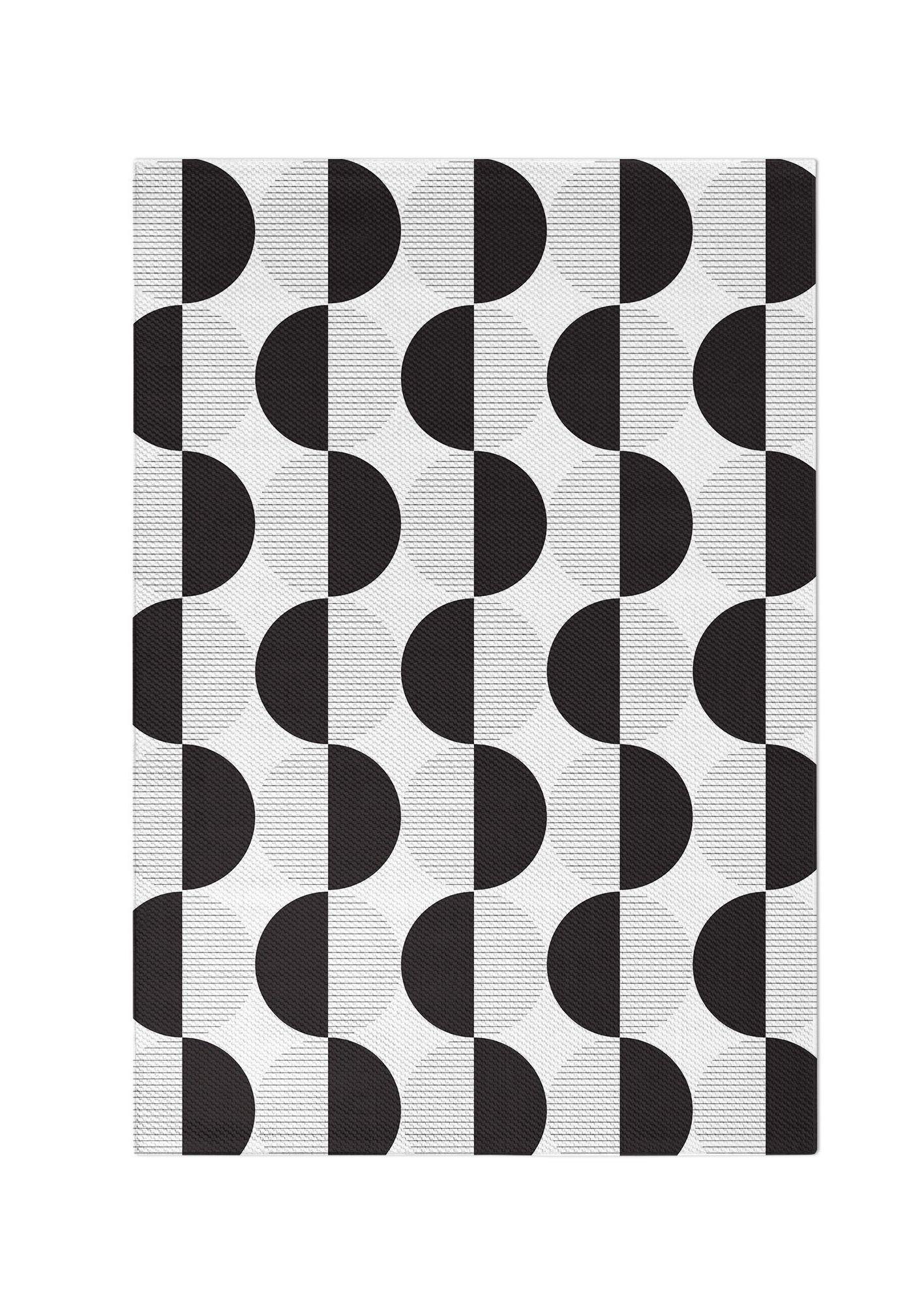 Black White Geometric Circles Area Rug Woven Living Room